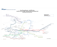 Map over BTS, MRT, Chao Phraya Express and Khlong boats